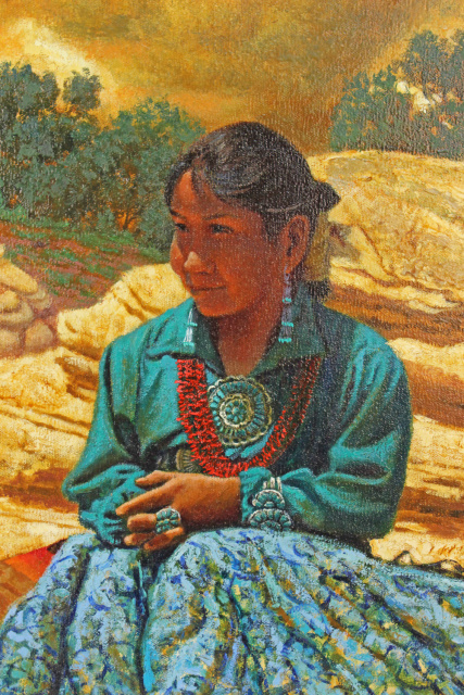 "Redwing Nez Original Oil on Canvas ""Navajo Girl"" SOLD"